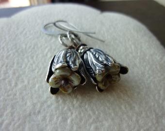 40% OFF SALE! - Oxidized Silver Petal Flower Earrings