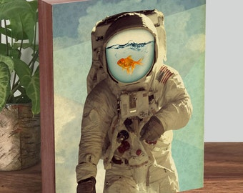 Astronaut Art - Goldfish Art - Collage Art - Astronaut Print -  Wood Block Art Print