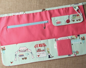 Vendor Apron, Utility Apron, Teacher Apron - Pink with Vintage Market, light blue zipper - Ready to Ship