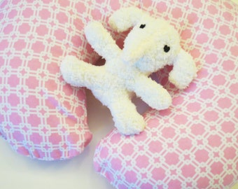Light Pink flannel with White Lines and Squares baby Boppy or nursing pillow cover