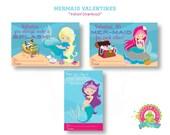 Valentines Day Cards for Kids - Kids Valentines Day Cards - Mermaid Valentines Day Cards - Kids Valentines Day Tags - Classroom Valentines