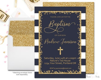 Navy and Gold Baptism Invitation, Baptism Invitation Boy, Boys Christening Invitation, Boys Baptism Invite, Gold Glitter, Blessing