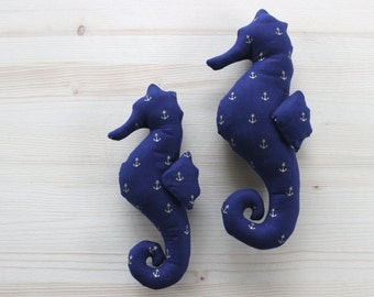 Seahorse toy Baby boy shower stuffed animal Seahorse navy blue gold nautical nursery decor Stuffed seahorses toy Nautical toys for boys
