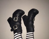 90s black leather industrial goth platform buckle boots size 38