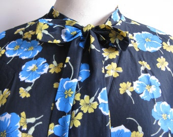 Vintage 70s Floral Robe 1970s Black Blue Yellow Maxi Night Jacket Large