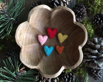 Felted wool hearts, set of 5, Bright Rainbow, Montessori color sorting, waldorf teacher valentine, rainbow felt hearts, bright wool hearts