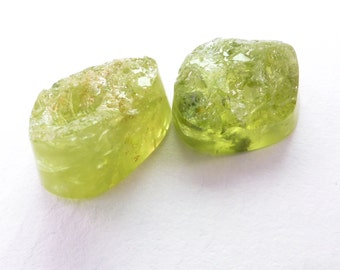 Garnet Rough Cabochon Cookies. Natural Grossular Green Garnet. Smooth Sides/Back. Rough Top. EZ Setting. 2pc. 13 cts. 8x10x6 mm (GA910)