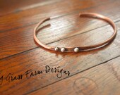 Copper Bracelet, Hand Forged, Hammered Bangle, Fine Silver Accents, Rustic Gift for Her, Western Jewelry, Holiday, Birthday Present