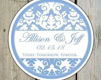 Round Custom Damask Favor Labels / Stickers - Serenity Blue Damask - Personalized Damask Wedding Favor Stickers / Shower Labels / Birthday