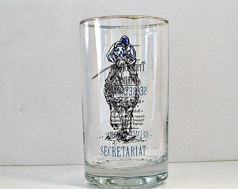 Secretariat  Horse Racing Glass  Belmont Park 1973  Vintage Tumbler Triple Crown Racing Kentucky Derby