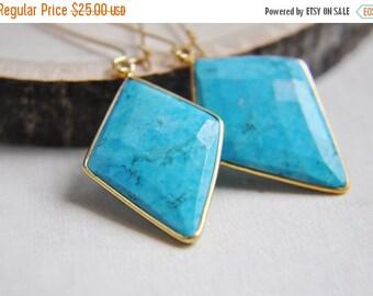 SALE Turquoise Earrings, Diamond Shaped Earrings, Geometric Earrings, Howlite Earrings, Statement Earrings, Summer Earrings, Boho Earrings