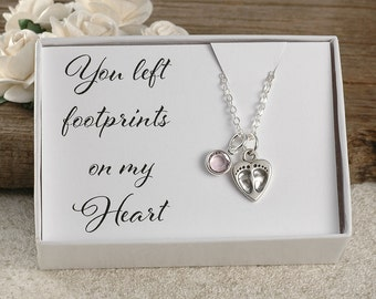 Miscarriage jewelry, miscarriage necklace, You left footprints on my heart, infant loss, memorial for baby, stillborn gift, birthstone