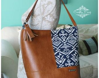 Recycled Leather Bonnie Bag - Caramel Leather - Aztec leather bag - Bucket Bag - Aztec bag - tribal bag -  cramel recycled leather bag -