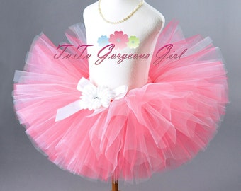 Adult Coral and White Tutu...Women's Salmon Color Tutu...Teen Coral and White Tutu...CORAL PRINCESS