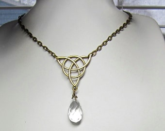 Celtic Knot with Aries Birthstone Necklace