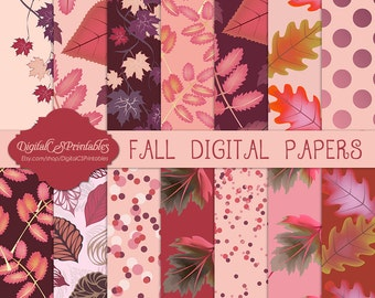 Fall digital paper fall Autumn Digital paper Autumn Fall Printable Burgundy digital paper commercial use digital paper Autumn leaves