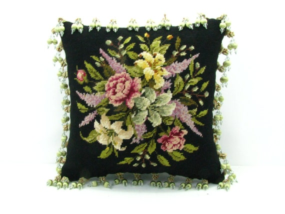 Flower Boquet Hand Needlepoint Pillow With Leather Back and Beaded/Ball Fringe