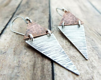 Geometric Earrings - Mixed Metal Jewelry - Sterling Silver and Copper Triangles - Everyday Earrings