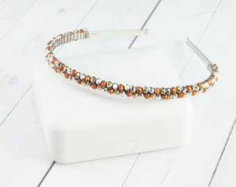 Silver Crystal Headband - Metallic Gold and Copper Hair Piece - Unique Gifts for Her - Autumn Hair Accessories - Gifts Under 35