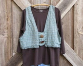 SALE WAS 89 NOW 69 camisole vest top washed linen in teal brown plaid ready to ship