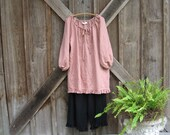 RESERVED FOR K in Canada linen gypsy boho top in dusty rose pink ready to ship