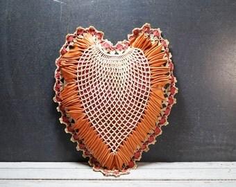 Crochet and Ribbon Heart Pillow