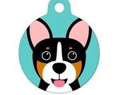 Pet ID Tag - Black and Tan Corgi Pet Tag, Dog Tag