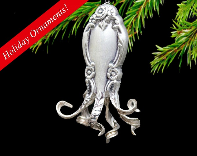 Ornamental Octopus Ornament,upcycled Flatware, Vintage Ornament, Hanging Holiday Decor, Silver Christmas, Ocean Ornament, Orniment, Ornement