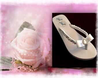 Bridal Flip Flops/wedges.Wedding Flip Flops. White Wedding Shoes.Rhinestone Shoes. Bridal Shoes/Sandals. Beach Sandals