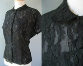 1940s Black Lace Blouse - Vintage Sheer Nylon XS