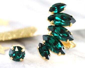 Ear Climber earrings,Emerald Climbing Crystal earrings,Ear Cuff Swarovski Earrings,Trending earrings,Ear Crawler Earrings,Statement Earrings