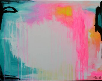 LARGE Original Abstract Painting, Acrylic, Modern Contemporary Art, Pink, Teal Blue Yellow, Black, White, Bright, Vibrant, Colorful, 40 x 30