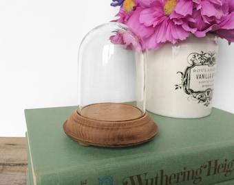 SHOP SALE! Vintage Mini Display Dome with Wood Base / Cloche / Bell Jar / Mini / Tiny / Display Case / Terrarium
