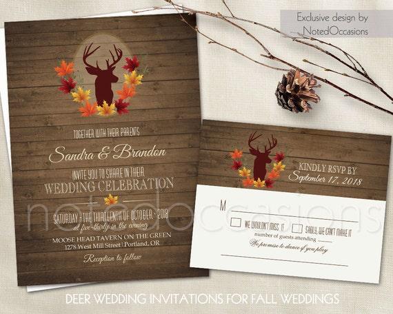 Deer Wedding Invitation Set Rustic Fall Wedding Invitations – Fall Invitations for Weddings