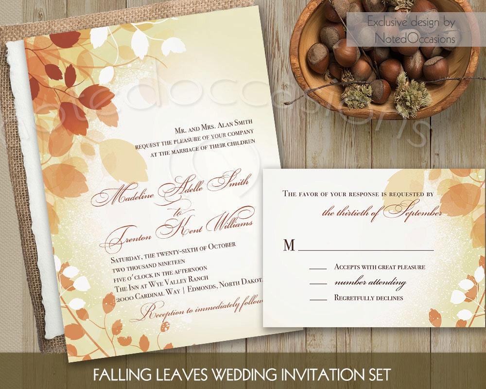 Homemade Fall Wedding Invitations: Fall Wedding Invitations Leaves Printable Fall By