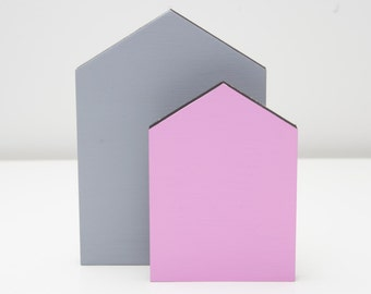 Houses wooden nursery shelf decoration - grey and pink freestanding house set