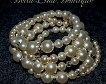 Swarovski Pearl & Crystal Bridal Bracelet Cuff