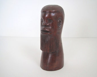 Vintage hand carved wood/ carved head man/ 1962/St. Mary's Jamaica/folk art