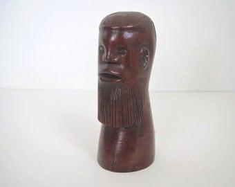 Vintage hand carved wood/ carved head man/ 1962/St. Mary's Jamaica/folk art
