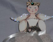 Angel Ornament Glitter Wings Crushed Tulle Skirt Pearls