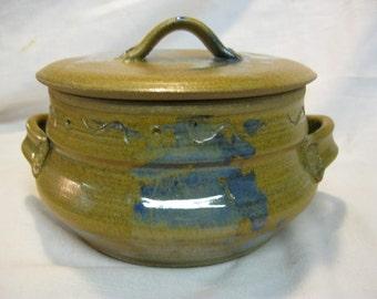 Lovely, Splashy Gold and Blue Stoneware Casserole