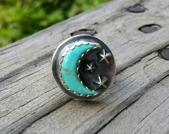 SOLD  - Custom Orders available upon request.  Moon and stars turquoise ring size 7.5