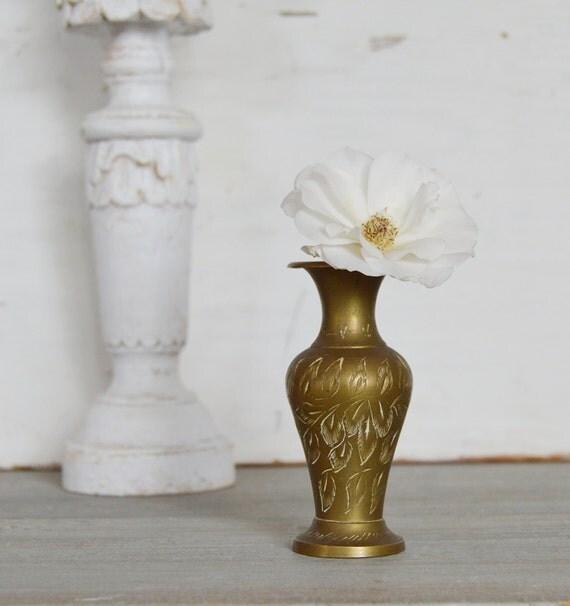 Wee Vintage Brass Etched Vase