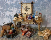 Dollhouse miniature 1/12 witch wizard table magic books potions OOAK