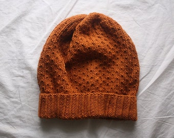 knit slouch winter hat organic wool and cotton SILJE - ochre LAST ONE
