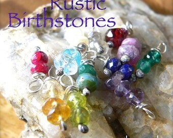 Wire Wrapped RUSTIC BIRTHSTONE Dangles, Add-on To Necklace Charm Bracelets - Jewellery Supply - Birstone Gift