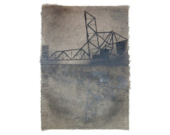 Chicago River Bridge No. 5 (South Loop), with Iridescent Pigment Reflection: handmade abaca paper with pulp painting (2014), Item No. 167.02