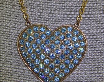 Handmade Vintage Rhinestone Heart  Necklace Vintage Chain With Hand set Rhinestones Oscarcrow  Light Blue and Brass