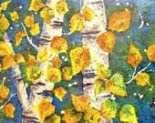 Watercolor Batik Aspen Trees - Original Painting Martha Kisling