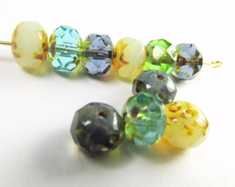 10 Land and Sea aqua mint green and blue Czech glass 8mm x 6mm faceted rondelle jewelry beads